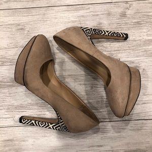 Zara sand round toe pump tribal print heel size 37